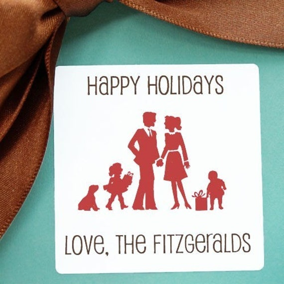 Personalized Holiday Gift Tags - Family Silhouettes