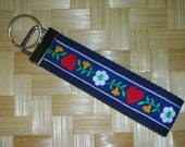 Navy Hearts and Flowers Key Fob
