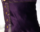 Custom listing for Annie - Regal Plum Purple Satin Pillow Cover with Gold Trim