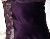 Regal Plum Purple Satin Pillow Cover with Gold Trim