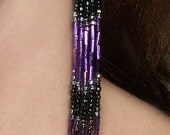 Purple and Charcoal Long Hand-beaded Earrings - FREE SHIPPING -