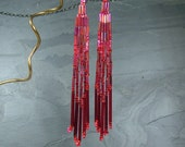 Out on the town... Long Lightweight Red Earrings - FREE SHIPPPING -
