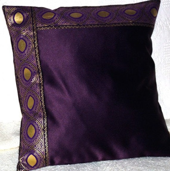 Regal Plum Purple Satin Pillow Cover With Gold Trim