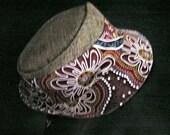 Aboriginal Indigenous Art print fabric Hat Trilby Fedora Gangster Style Australiana Fabric Hat
