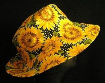 Sunhat Summer Hat Yellow Sunflower Reversible Fabric Hat Headwear Cloche