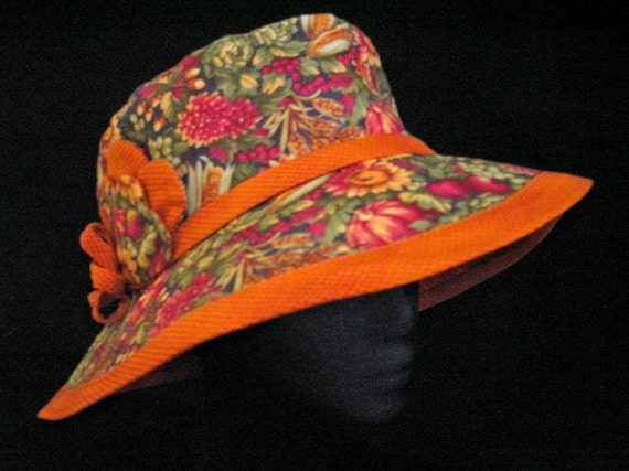 Sunhat Summer Hat Fruit and Vegetable Garden Print Cloche Fabric Hat Headwear
