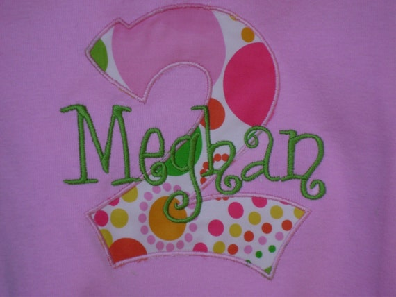 Personalized Appliqued Monogram Birthday Tee-Custom Made Sizes 3 mos-Youth 12