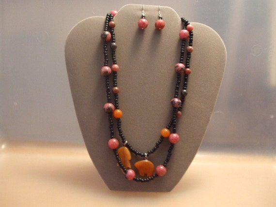 Rhodochrosite stones, Agate stones, stone animals, double strand, earrings, unique necklace, peach orange, leaf charm, elephant charm