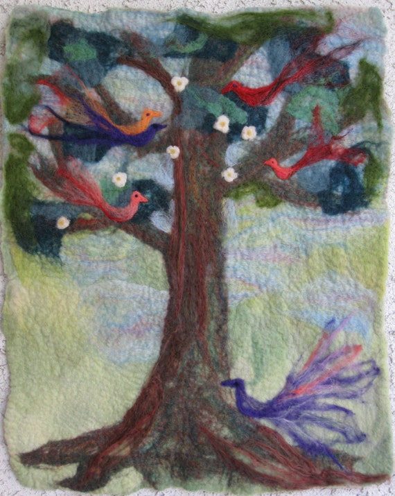 Tree of Life hand felted wool tapestry