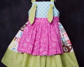 Michael Miller High Tea Knot Dress with apron Size 12 months-5 yrs
