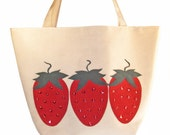 SALE REG PRICE 30.00 Now 25.00 Red Strawberries Tote Made With Reclaimed Upholstery and Ultrasuede