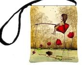 Cross Body Essentials Handbag Waiting For True Love Red Poppies Whimsical Purse, Lavennz Ooi Sin Yee Artwork