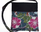 Butterflies and Flowers Blue and Pink Pretty Summer Handbag, Long Strap, Ready to Ship