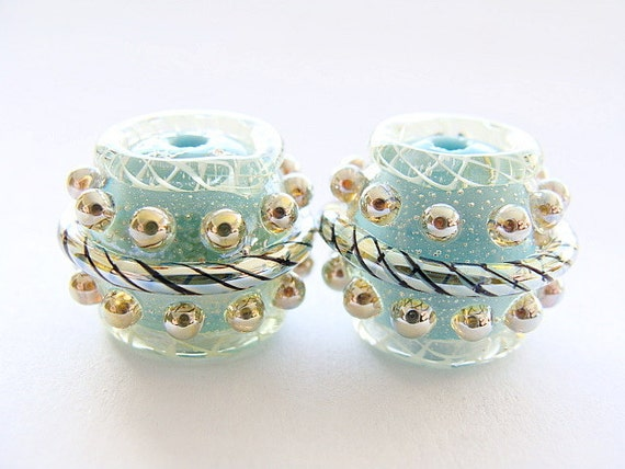 Reserved - Silvered Light Blue Pair