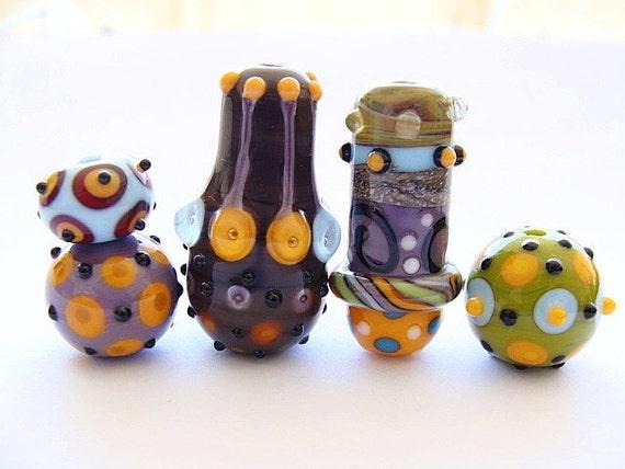 5 Handmade Lampwork Beads