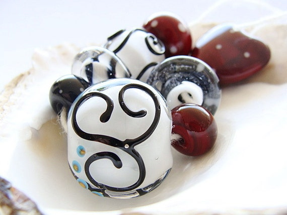 S A L E - Black, White and Red Lampwork Beads