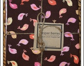 Girly Birds Pair of Reversible Cloth Lunch Napkins