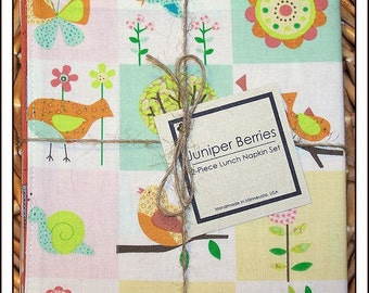 Bird Bliss Pair of Reversible Cloth Lunch Napkins