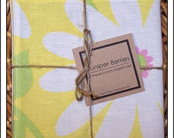Organic Giant Daisy - Yellow - Pair of Reversible Cloth Lunch Napkins