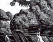 ACEO Stormcrow Raven Original Art Scratchboard Drawing Robs Art Bird Rain Clouds