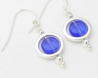 Circles earrings - bright blue