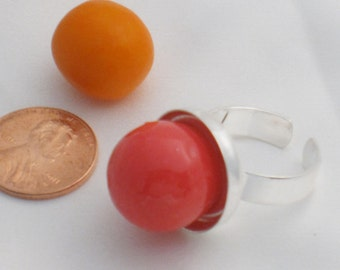 Bubble Gum adjustable silver-plate ring - Pink
