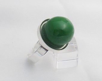 Bubble Gum adjustable silver-plate ring - Green