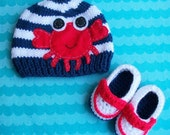 Knit Beanie with Crab applique and Booties, Made in the USA, boy or girl version doable,  Baby booties, baby beanie, boys accessories
