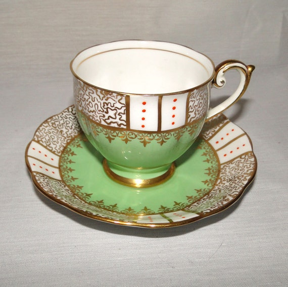 Bell China Minty Green and Gold Teacup and Saucer