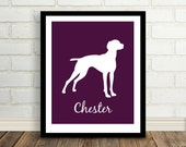Silhouette Pets : Holiday Gift - Pet Lover - Choose your Breed / Custom Pet / Modern Art Print - 8x10 / Vizsla - Any Animal - Animal Lover