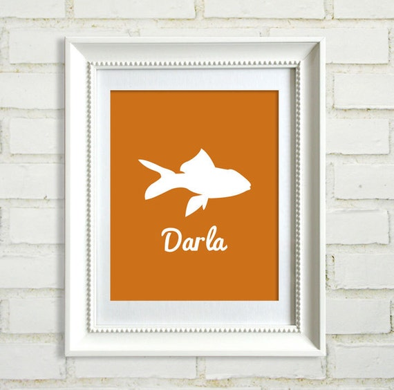 Silhouette Pet : Choose your Breed / Custom Pet Name / Choose your Color / Modern Art Print - 8x10 - Gold fish