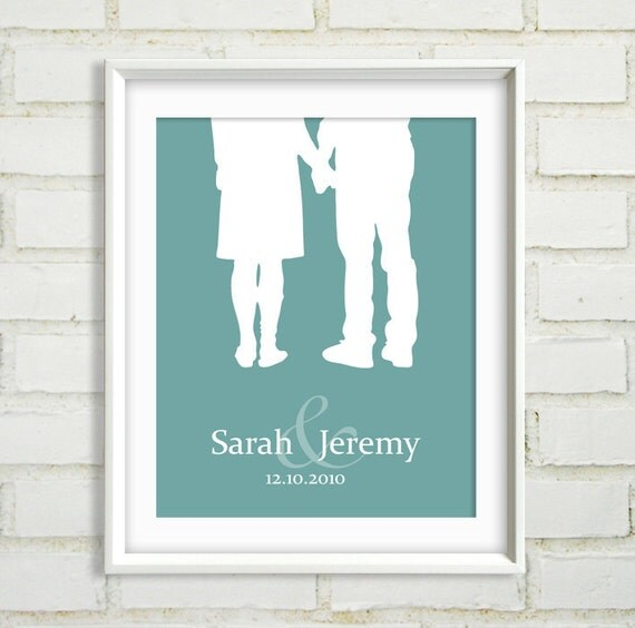 Personalized Wedding Gift - Couples Silhouette Modern Art Print - Holding Hands : Choose your Names, Date and Color - Custom 8x10