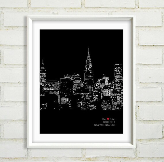 Unique Wedding Gifts Nyc : New York City art, Personalized Engagement Gift, Wedding Skyline Gift ...