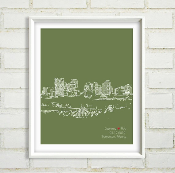 Unique Wedding Gifts Edmonton : Wedding Gift, Edmonton, Alberta Canada Cityscape, Bridal Shower Gift ...