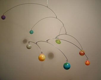 Planets Mobile by Julie Frith Glows In The Dark Modern Art Hanging Nursery Kids Room Decor