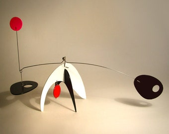 Modern Art Table Top Kinetic Art Sculpture Animo Large Stabile by Frith Calder influence Home Decor Gift White Black Red