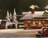 Folk Art Print Leadville Train Station