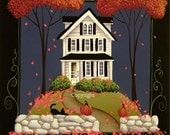 Folk Art Print Peace Be to This House by Catherine Holman