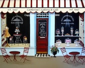 Folk Art Print Personalized Red and White Cakery and Cafe