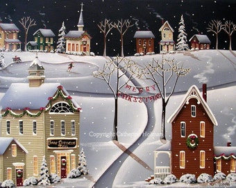 Down Home Christmas Folk Art Print