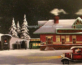 Folk Art Print Leadville Train Station