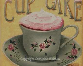 Cup of Cake Folk Art Print