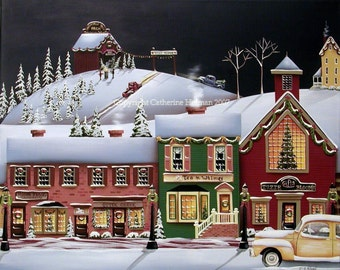 Folk Art Print Christmas in Holly Ridge