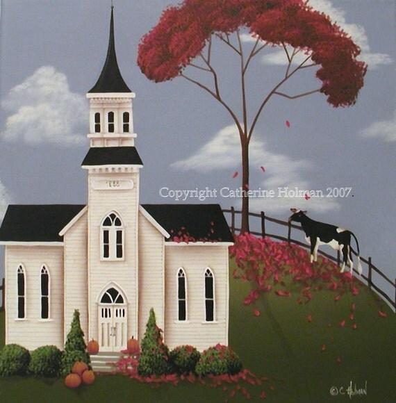 Folk Art Print Lulabelle Goes To Church