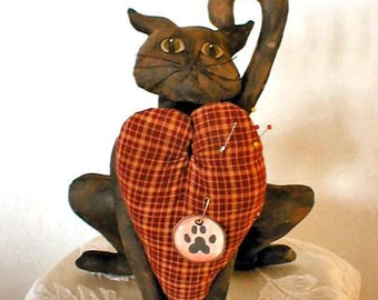 Valentine Cat Pin Cushion Decoration Sewing Pattern Primitive PDF  Instant Download