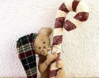 Christmas Mouse and Candy Cane Ornament E Pattern Primitive Decoration PDF Instant Download