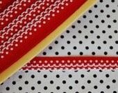 kawaii red and white fabric dots ribbon trim border