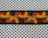 retro fabric flowers and stripes ribbon