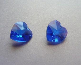 Two 14mm Swarovski Crystal Hearts