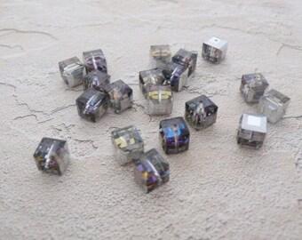 Ten 8mm Swarovski Crystal Cubes in Crystal Vitrail